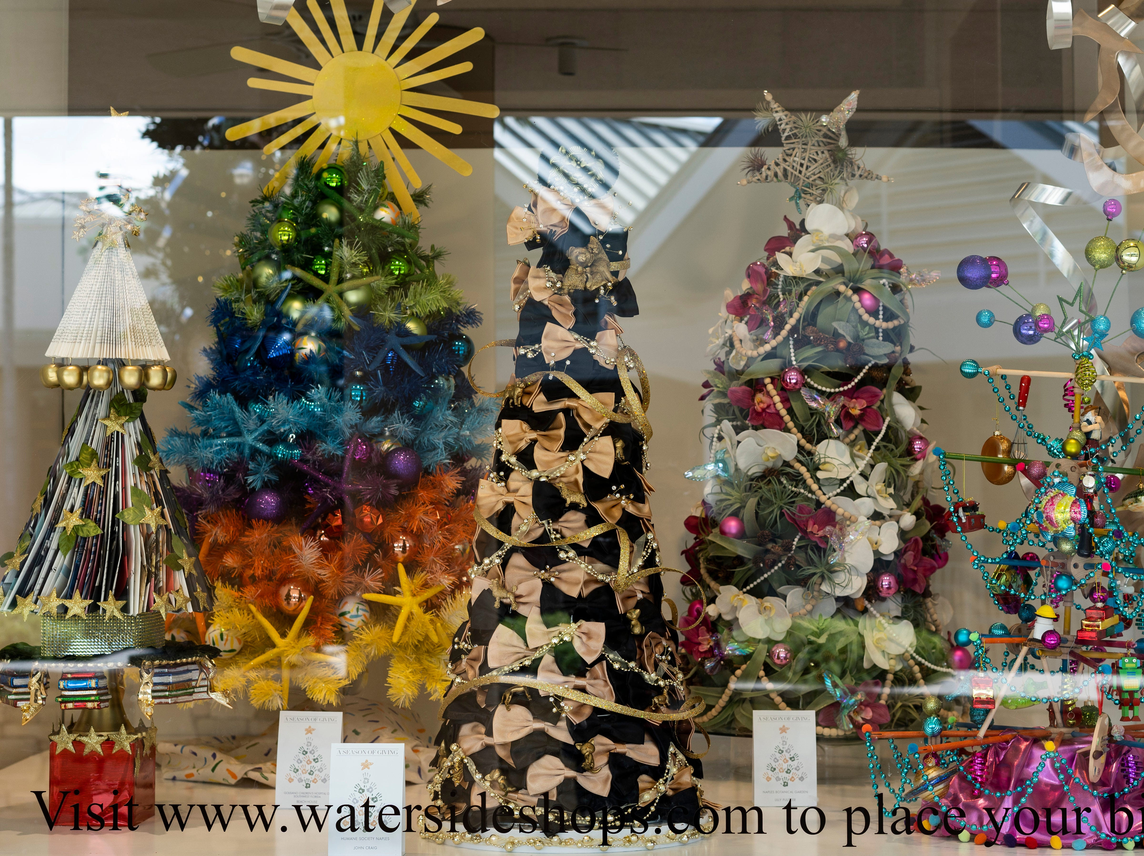 Naples' Waterside Shops is hosting A Season of Giving, which allows an interested bidder to place bids on any of 10 decorated Christmas trees displayed at the Waterside shops. Each tree supports a nonprofit organization in the Naples area partnered with a store at Waterside. The bidding and the display close on Thursday, Dec. 6, 2018.