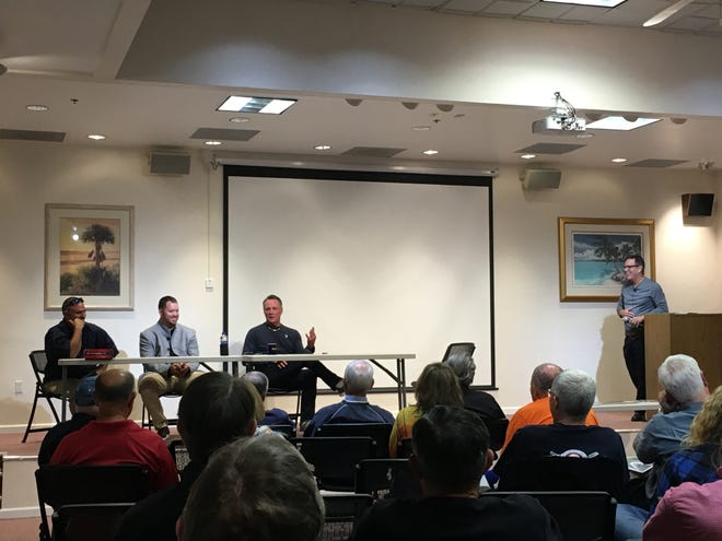 From left: Carmen Cali, Chris Resop, Don Carman reflect on their life in Major League Baseball with host Juan Romero at the Society for American Baseball Research meeting at the Collier County Public Library on Thursday, Nov. 29, 2018.