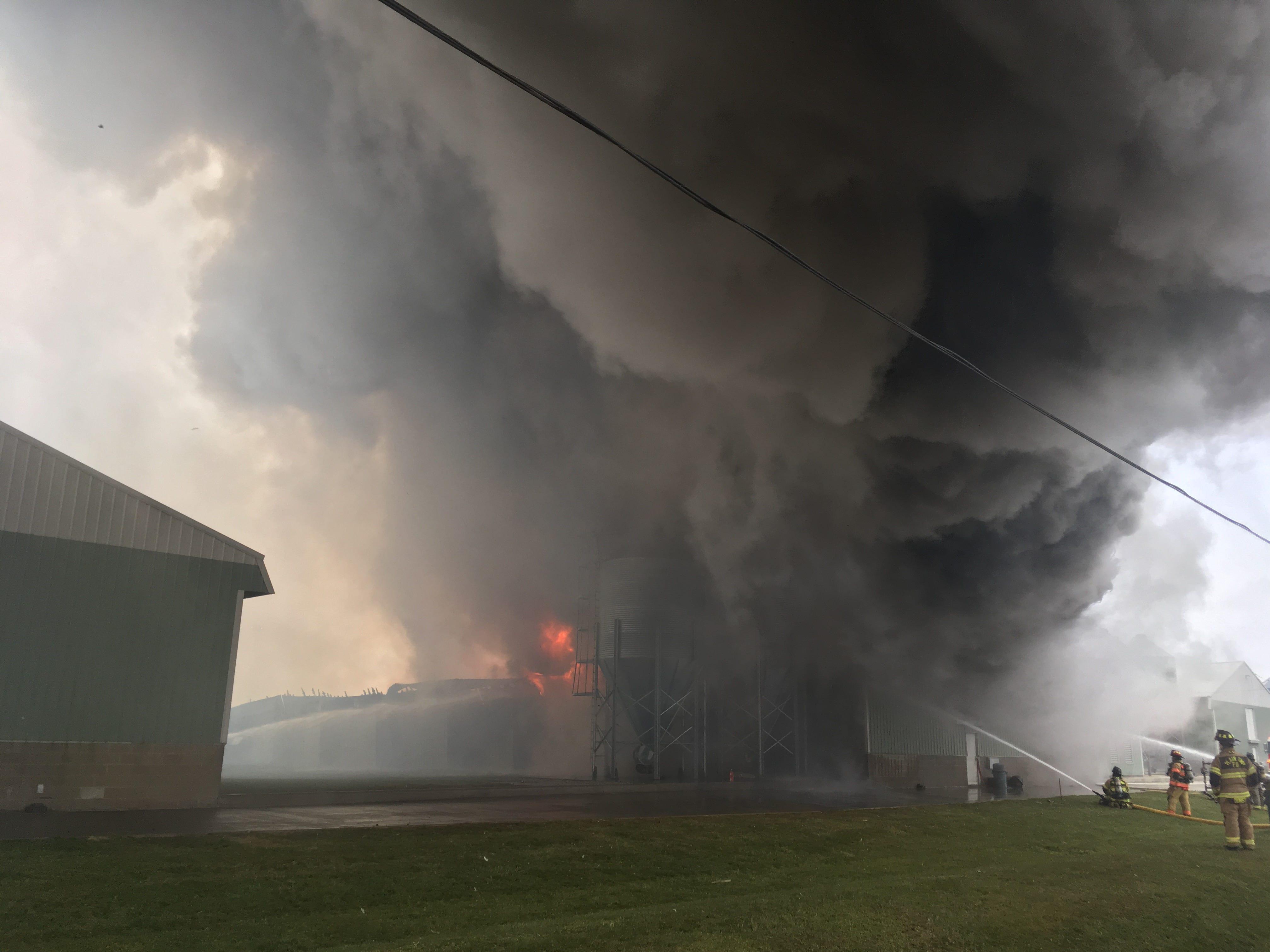 Firefighters battle a blaze at Trillium Farms in Croton on Nov. 30, 2018.