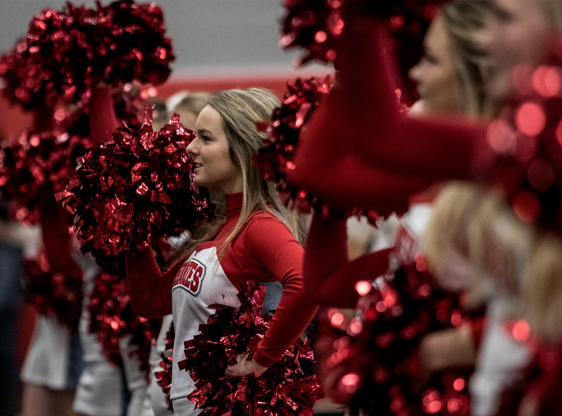 Cheerleaders perform during a pep rally Friday morning ahead of the teams' game state championship game Saturday. Johnstown will take on Orville at 3 pm Canton.