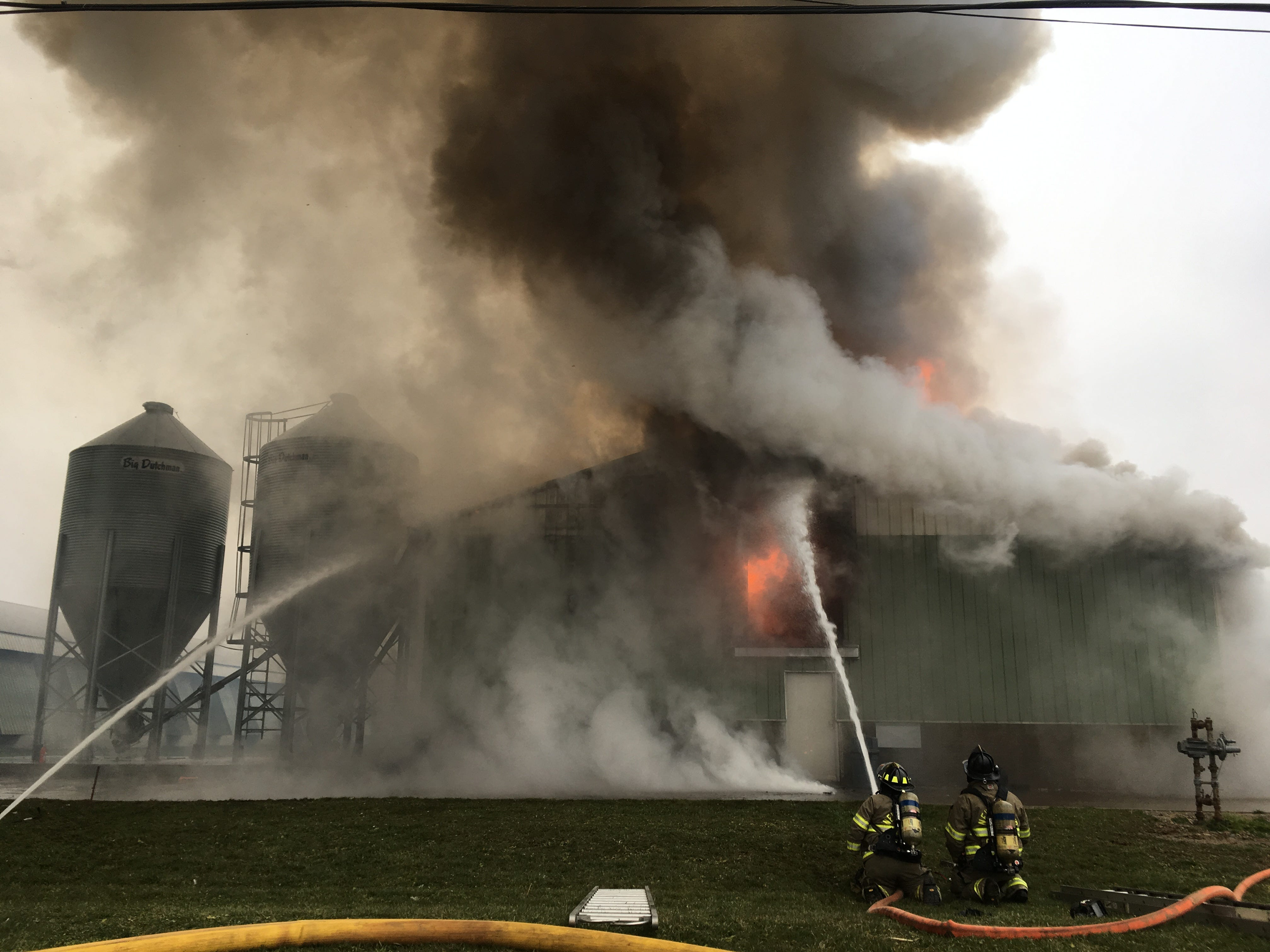 Firefighters work to contain a barn fire at Trillium Farms in Croton on Nov. 30, 2018.