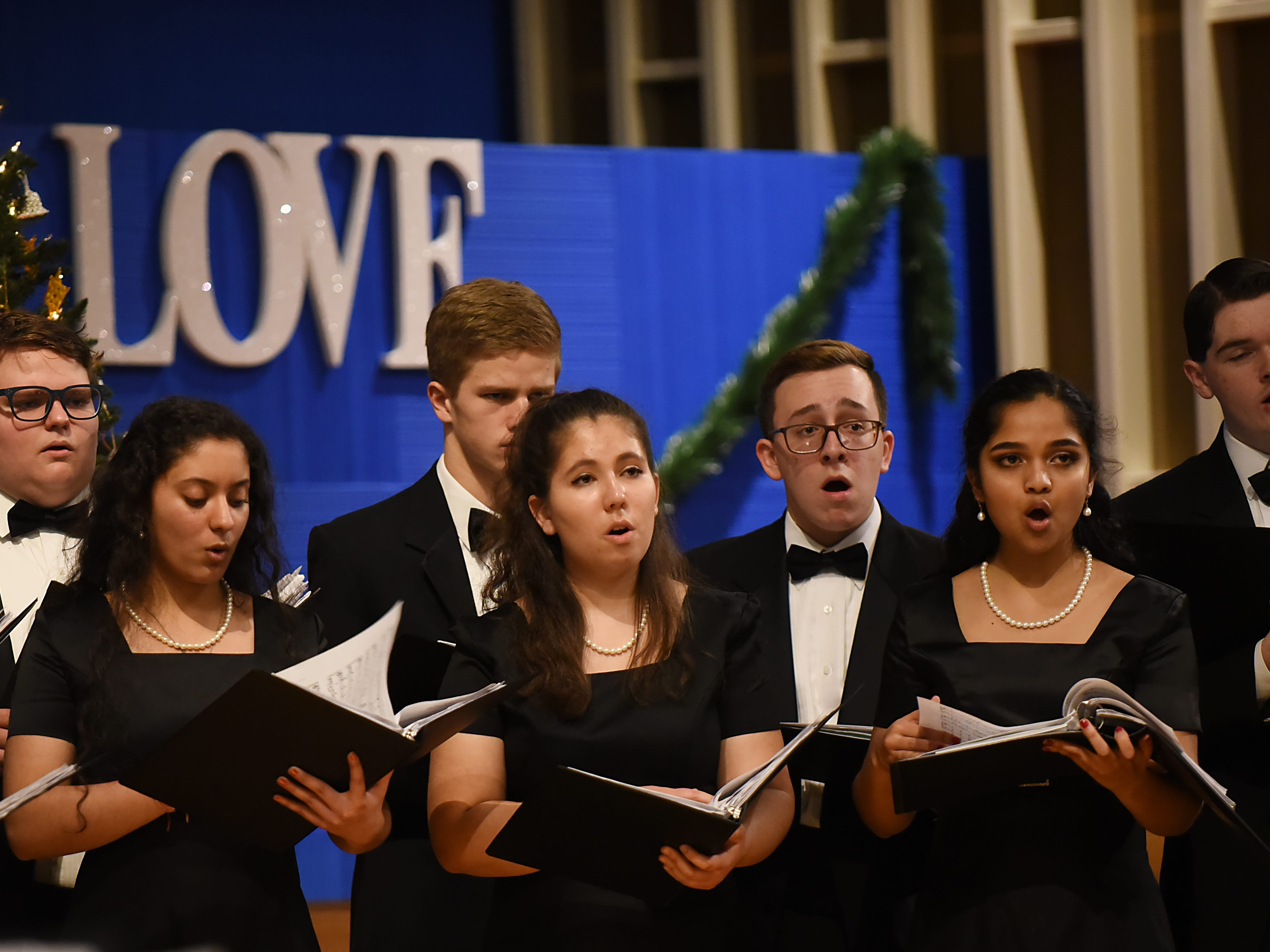 Morris Knolls Madrigal Choir during a dress rehearsal at Denville Community Church in Denville on Thursday November 29, 2018 prior to their performance at the White House.
