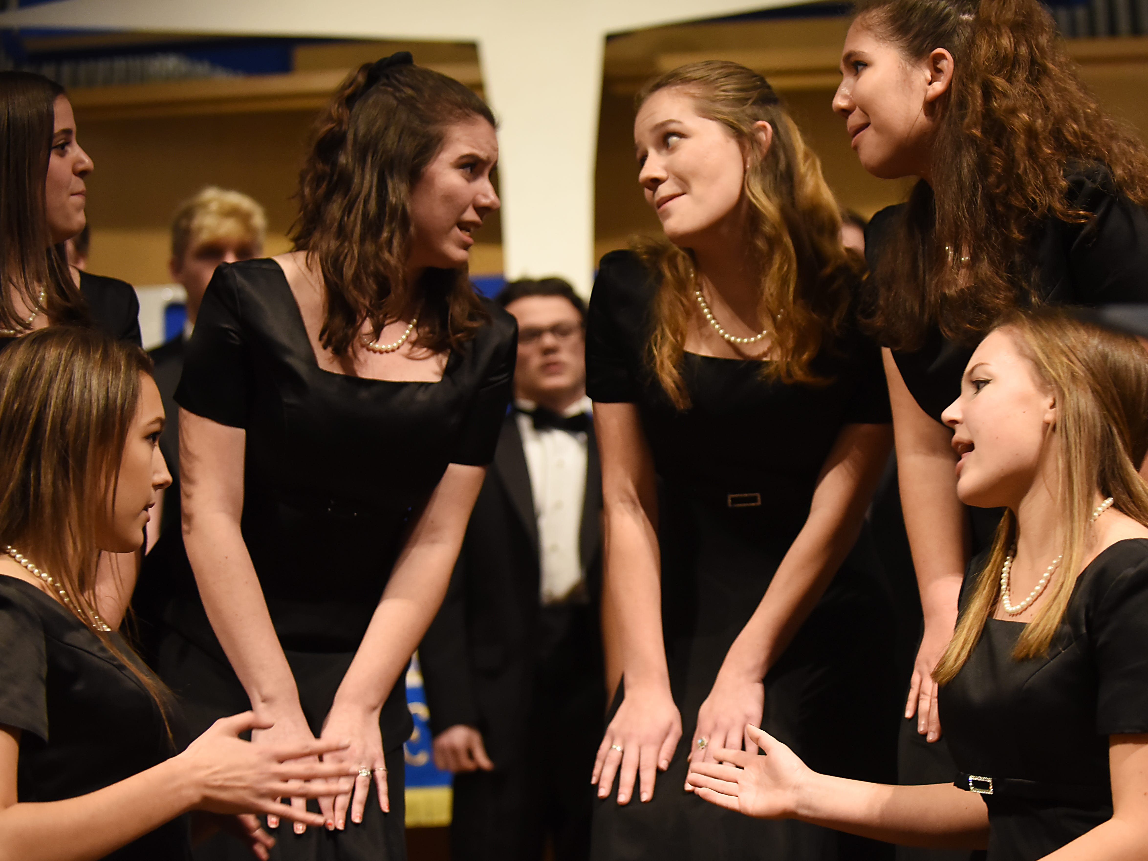 The Morris Knolls Madrigal Choir during a dress rehearsal at Denville Community Church in Denville on Thursday November 29, 2018 prior to their performance at the White House.