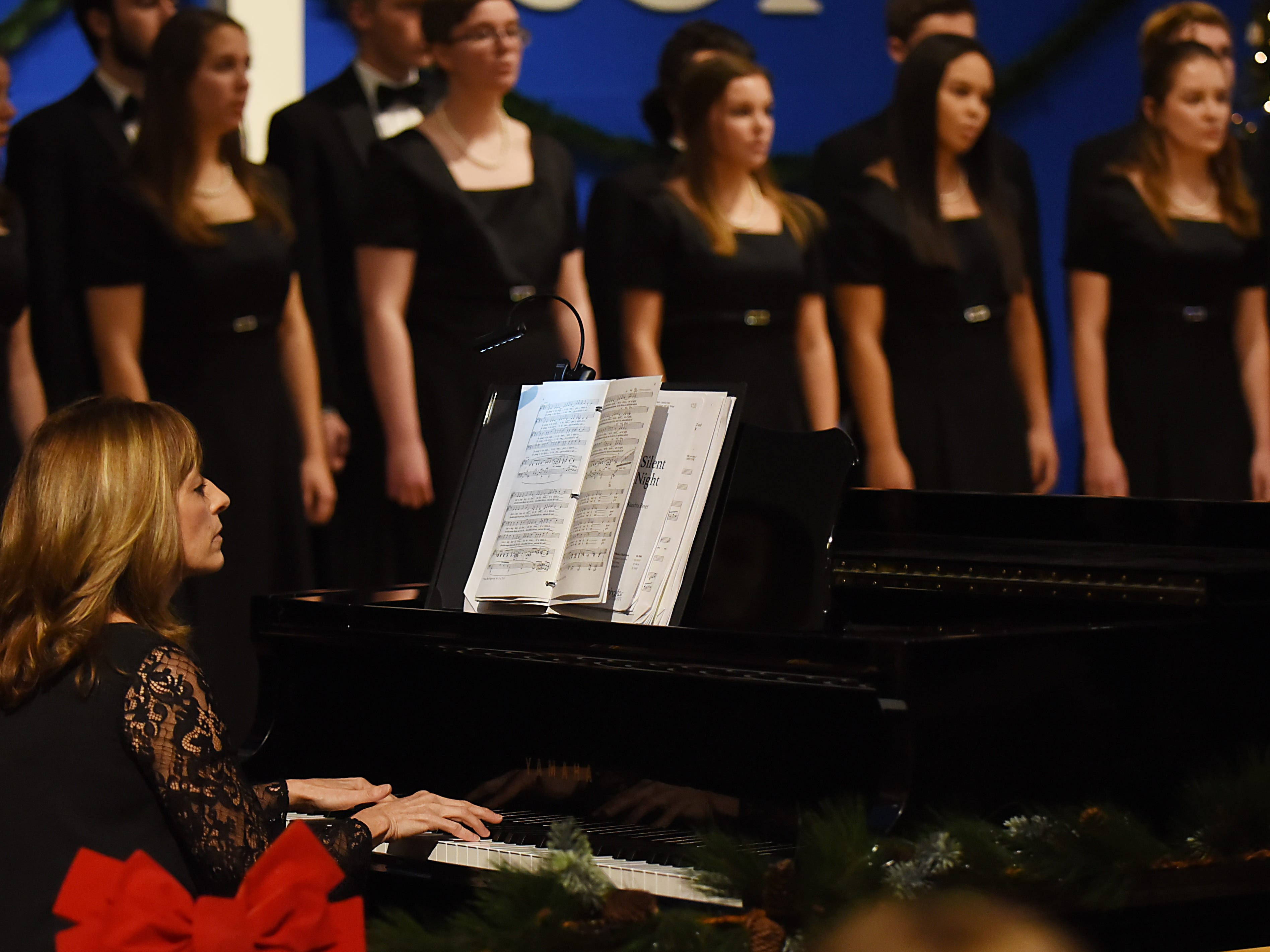 Lisa Wichman is the collaborative pianist with the Morris Knolls Madrigal Choir. Shown during a dress rehearsal at Denville Community Church in Denville on Thursday November 29, 2018 prior to their performance at the White House.