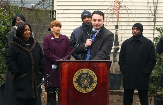 Mayor Andre Sayegh speaks during the celebration of the redevelopment and expansion of the Rev. Dr. Martin Luther King Jr. Park with planting of seven new trees. The Park commemorates the visit of Rev. Dr. Martin Luther King Jr. to Bethel AME Church in 1968, the week before he was assassinated. November 30, 2018, Paterson, NJ