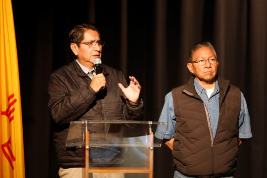 Navajo Nation Vice President and President-elect Jonathan Nez, left, talks about the legacy of uranium mining on the reservation while Vice President-elect Myron Lizer listens during the International Uranium Film Festival on Thursday at the Navajo Nation Museum in Window Rock, Ariz.