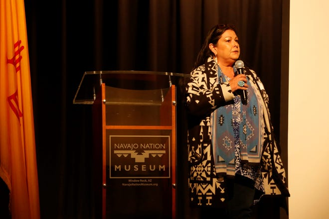 Anna Rondon, executive director for New Mexico Social Justice and Equity Institute, opens the International Uranium Film Festival on Thursday at the Navajo Nation Museum in Window Rock, Ariz.