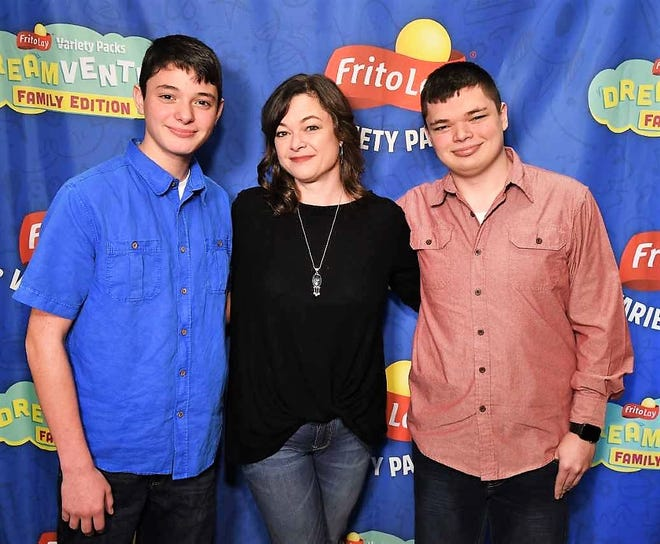 Jennifer Copland is flanked by her sons Parker Frye (left) and Evan Frye during their recent visit to Los Angeles for the FritoLay Dreamvention conference.
