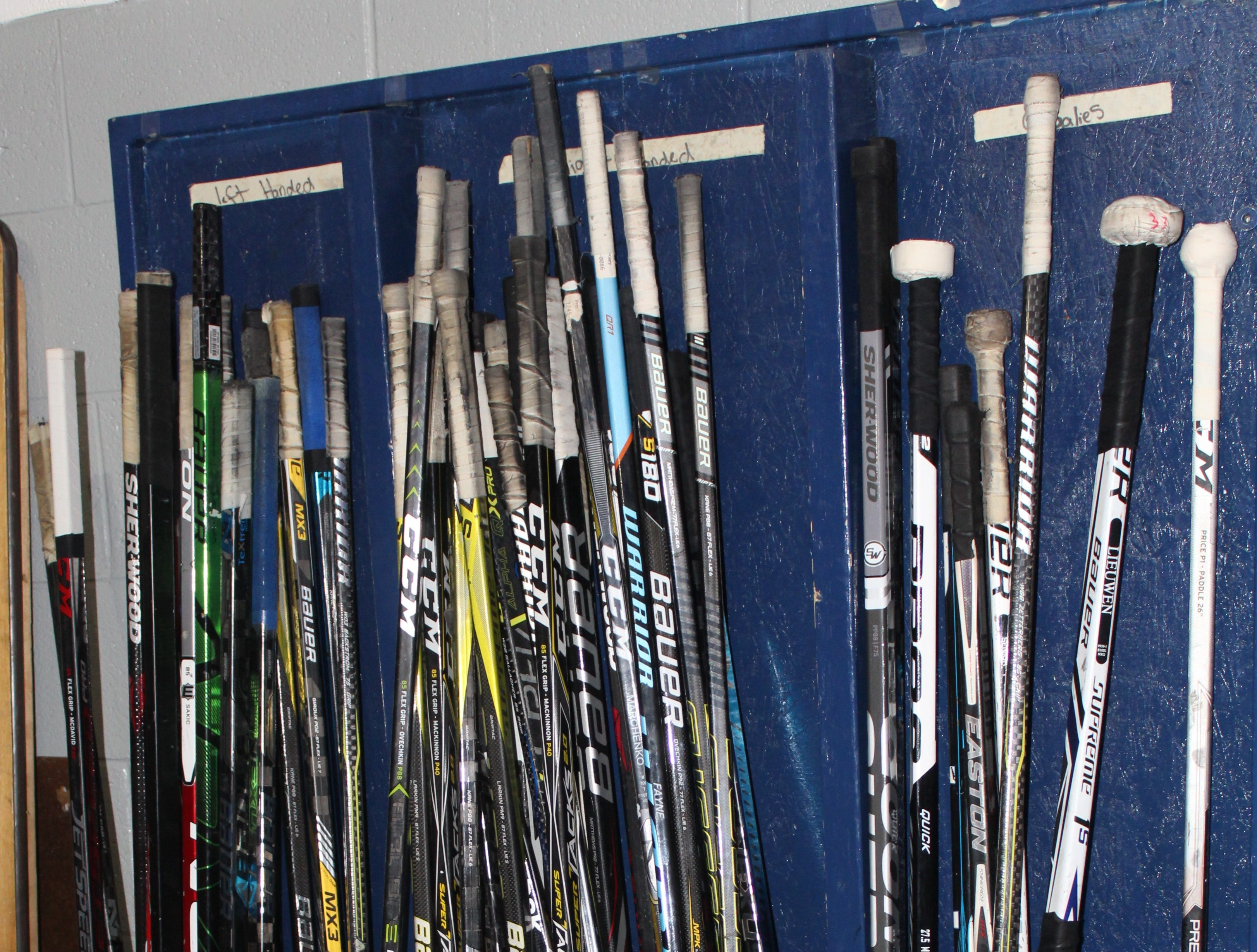 A new hockey rack is in place for South Lyon Unified's hockey team members.