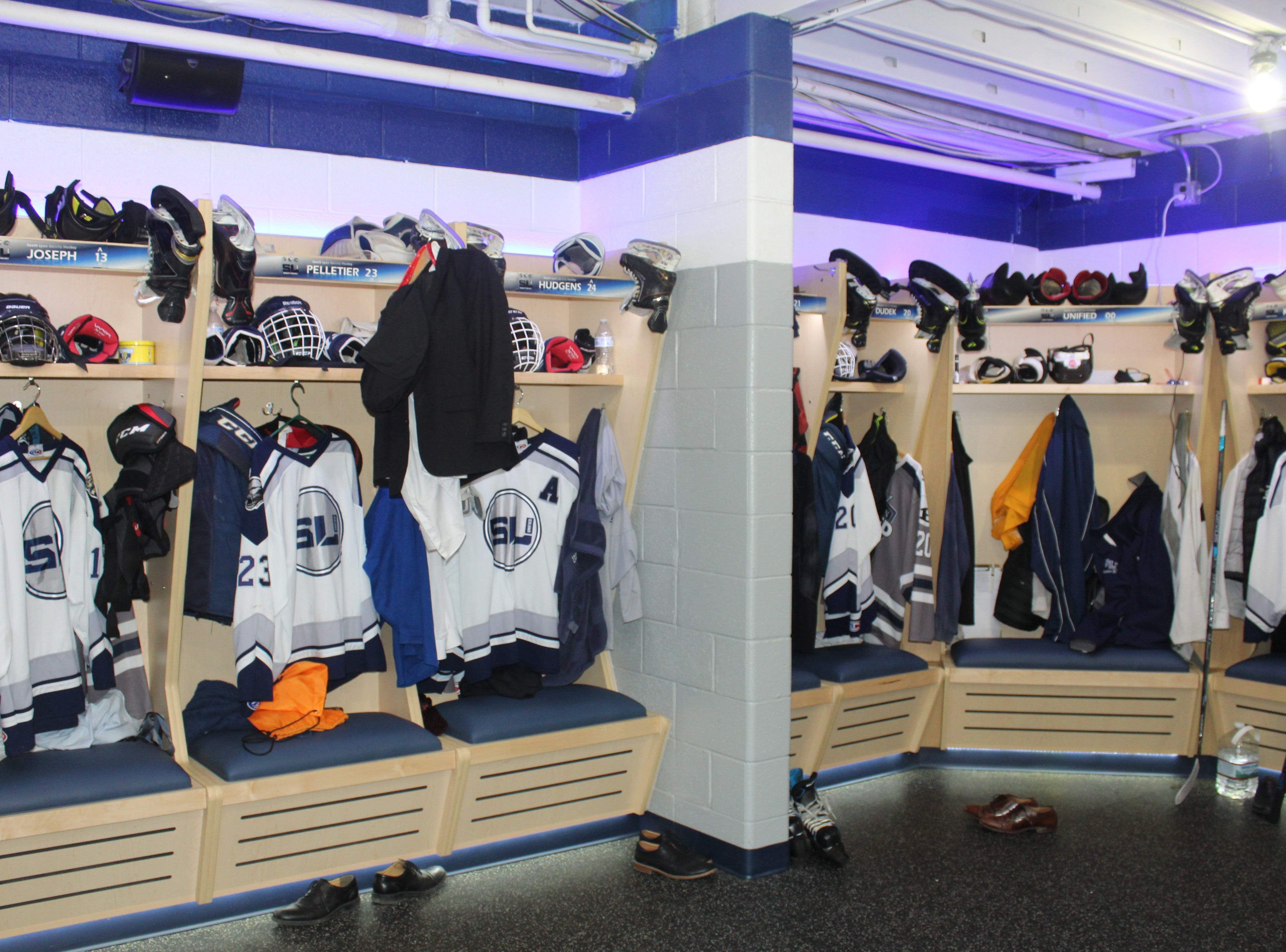 South Lyon's new dressing room is replete with renovated locker stalls, new flooring and a new sound system among other an array of other amenities.