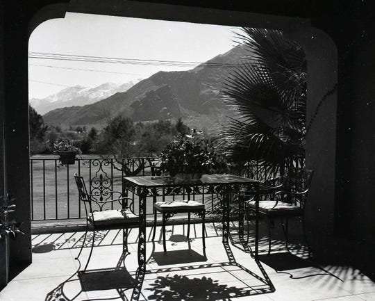 View of Tahquitz Canyon from the veranda of the Bishop House in 1949.