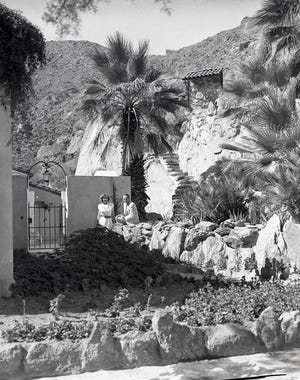 Back patio and stone pathway behind the Bishop and Mead houses in 1949.
