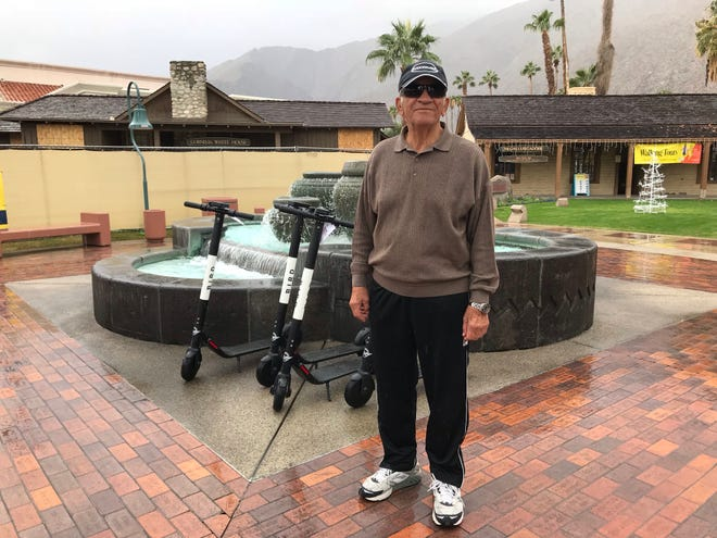 Wally Shargwi, Palm Springs resident of 57 years, reacts to Bird scooters.