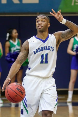 UWF's Rashaan Benson (11) calls out a play against Christian Brothers in a Gulf South Conference game at the University of West Florida on Thursday, November 29, 2018.