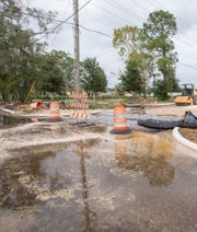 A view of the Government Street stormwater project from the corner of West Government and South Clubbs streets in Pensacola on Aug. 30, 2017.