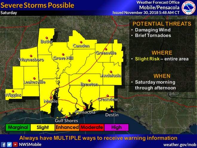Severe storms are expected in northwest Florida and the entire Panhandle on Saturday, particularly between 7 a.m. and noon.