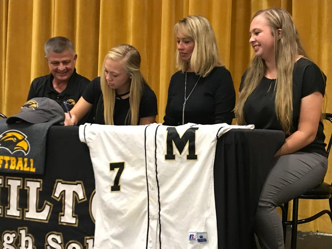 Milton catcher Caroline Worrell (center left) is joined by her father Danny (left), mother Tracey (center right) and sister Lexi (right) in signing with Southern Miss on Nov. 30, 2018 at Milton High.