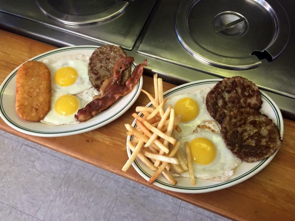 These breakfast platters can be ordered at Texas Hot Wiener on 28 Carlisle St.
