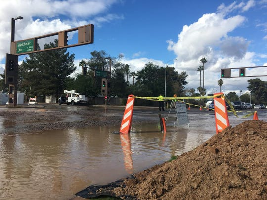 The intersection at Westchester Drive and Rural Road in Tempe is being closed off because of a burst water pipe on Nov. 30, 2018.