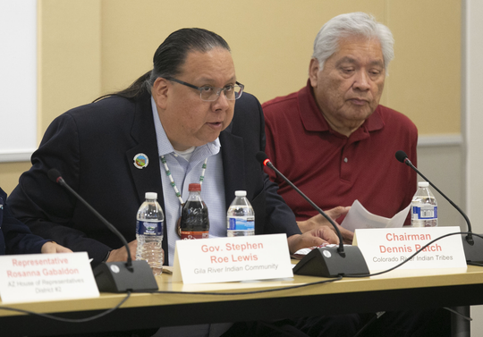 Gov. Stephen Roe Lewis (left) of the Gila River Indian Community speaks as Chairman Dennis Patch of the Colorado River Indian Tribes, listens during the Arizona Lower Basin Drought Contingency Plan Steering Committee meeting to work on a drought contingency plan for the Colorado River at Central Arizona Project headquarters in Phoenix on November 29, 2018.