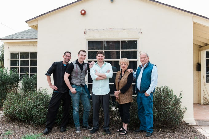 The team behind The Hidden House includes (from left to right) chef Aaron Rickel, beverage director Bobby Kramer, co-owner and operator Gavin Jacobs and co-owners Jackie and Elliott Hall.