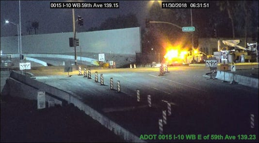 Interstate 10 access road closed at 59th Avenue