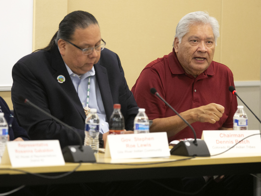 Chairman Dennis Patch (right) of the Colorado River Indian Tribes, speaks as Gov. Stephen Roe Lewis of the Gila River Indian Community listens a 2018 Drought Contingency Plan meeting.