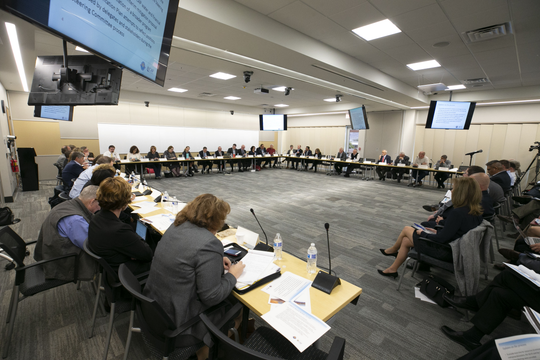 The Arizona Lower Basin Drought Contingency Plan Steering Committee meeting works on a drought contingency plan for the Colorado River at Central Arizona Project headquarters in Phoenix on November 29, 2018.