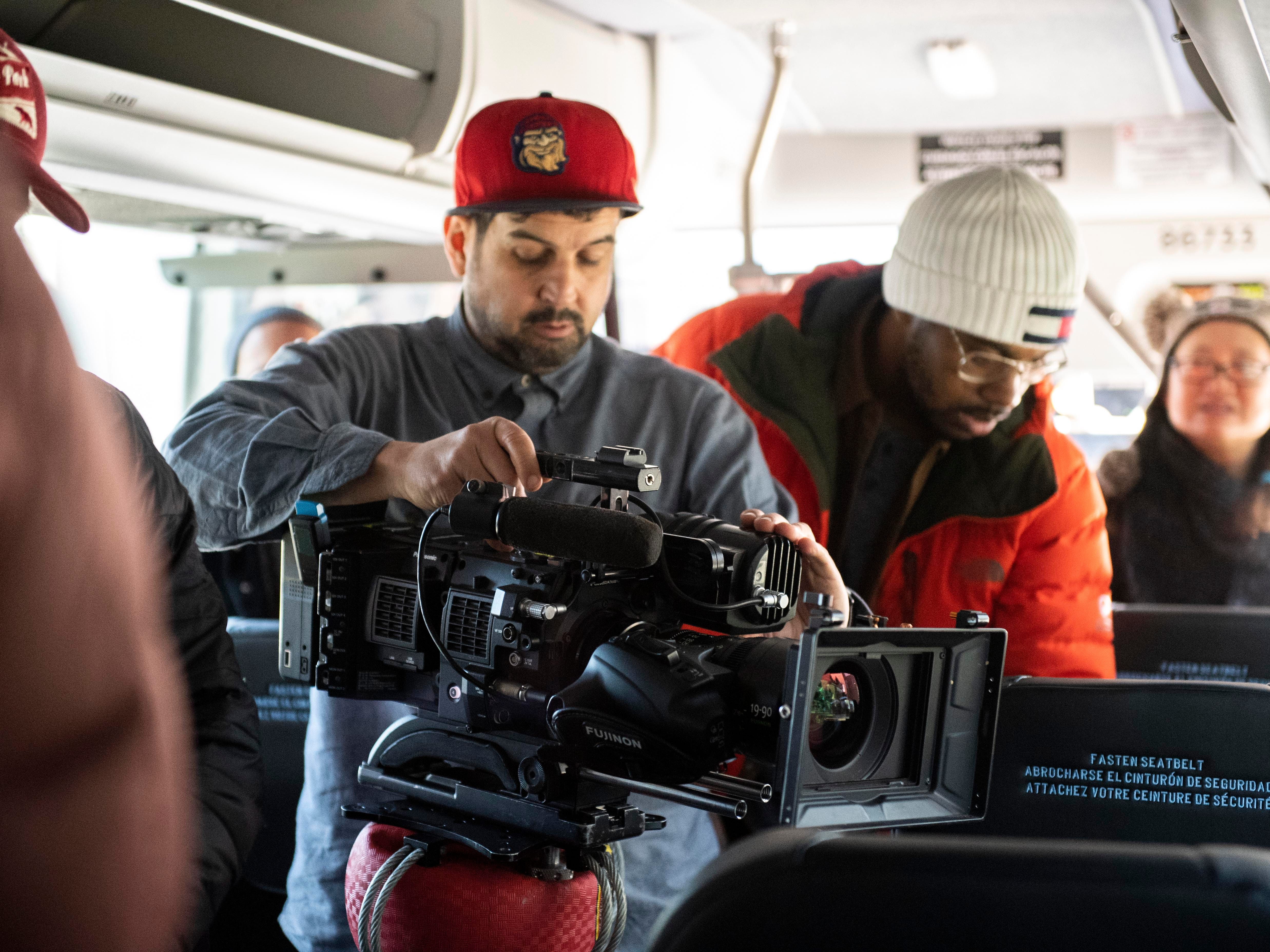 Video production crews working for ESPN set up their cameras on a Greyhound bus for an interview with Loretta Claiborne, Thursday, Nov. 29, 2018. Claiborne loves Greyhound buses, she said. The crew interviewed her while they drove to Gettysburg and back to York while working on a documentary for ESPN and the Special Olympics, celebrating 50 years of the Games.