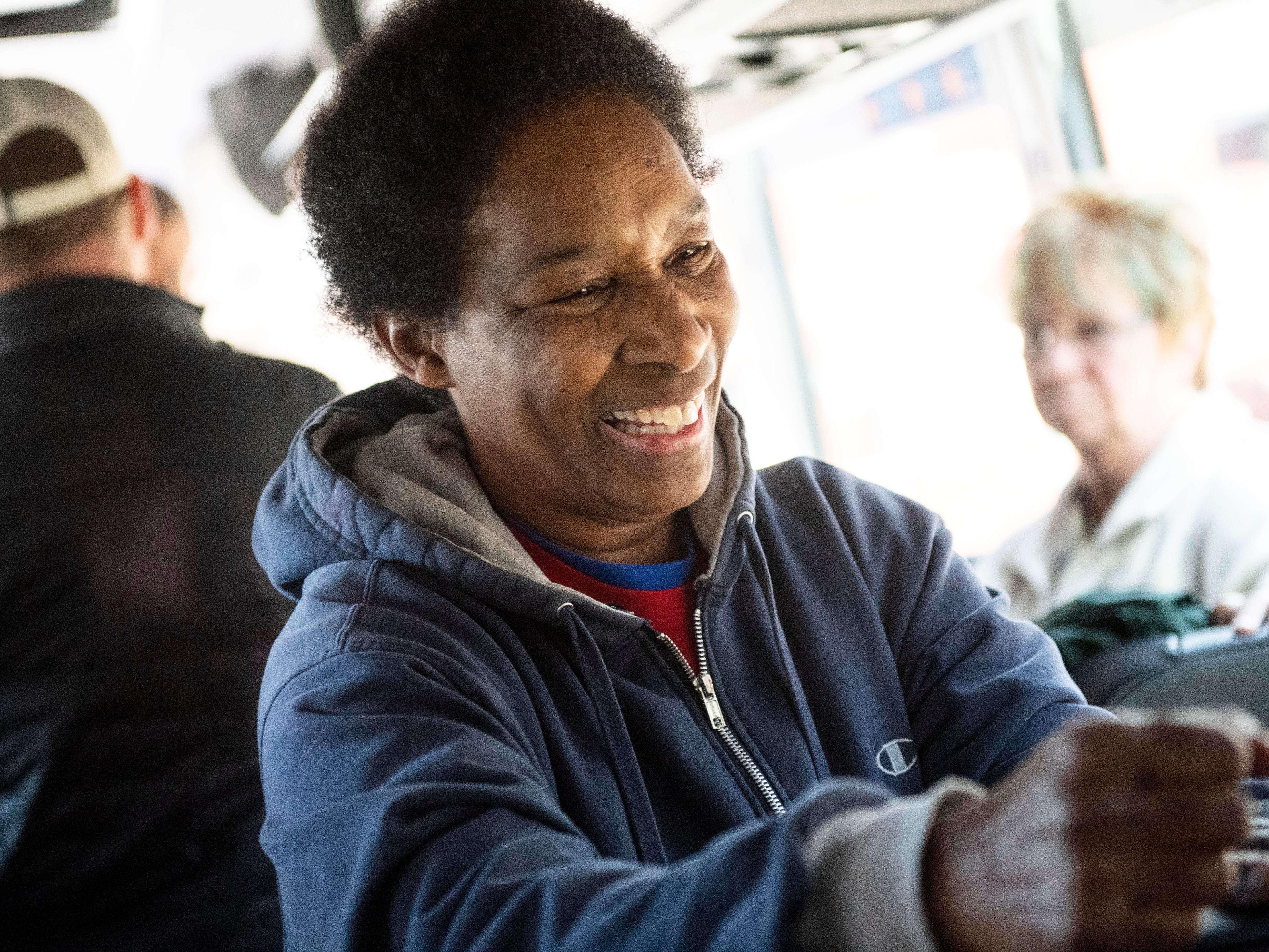 Loretta Claiborne, a York-native and Special Olympic gold medalist, laughs while the production crew for ESPN set up their cameras on a Greyhound bus, Thursday, Nov. 29, 2018. ESPN and Special Olympics have partnered to do a documentary on 50 athletes to celebrate 50 years of Special Olympics. The documentary on Claiborne will air in Dec. 2018.