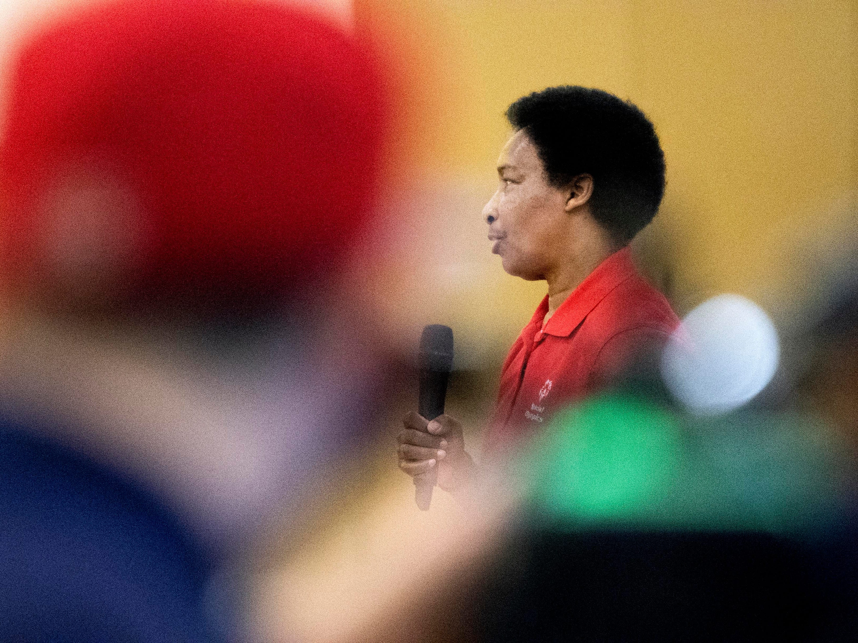 Loretta Claiborne, a Special Olympic gold medalist and York-native, speaks to teenagers at Crispus Attucks in York, Friday, Nov. 30, 2018. Film crews ESPN were filming a documentary on Claiborne for part of a partnership with Special Olympics, profiling 50 athletes to celebrate 50 years of Special Olympics. The documentary on Claiborne will air in Dec. 2018.