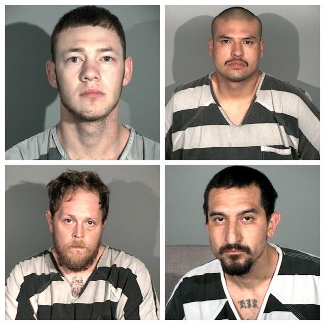 Mug shot photos of Michael Segna, 21, of Carson City (top left); Mauricio Gomez, 26, of Carson City (top right); Christopher Powell, 37, of Sparks (bottom left); and Richard Rios, 32, of Carson City.