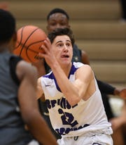 Spanish Springs' Jesse Coats looks to shoot against Birminghan high in the first game of the 2018 Wild West Shoot Out at Bishop Manogue High School on Thursday.