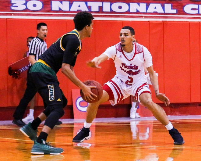 Northeastern High School graduate Tyler Smith plays defense against Saint Leo on Jan. 24, 2018. Smith has transferred from Florida Southern College to University of St. Francis in Fort Wayne, Ind.