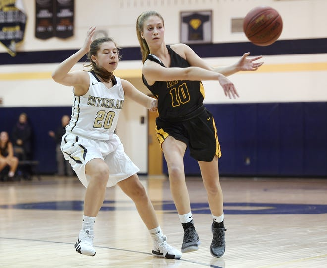 HF-L's Hannah Selke, right, passes the ball while defended by Pittsford Sutherland's Ellie Bergin during a regular season game played at Pittsford Sutherland High School on Thursday, Nov. 29, 2018. Pittsford Sutherland beat Honeoye Falls-Lima in overtime 53-47.