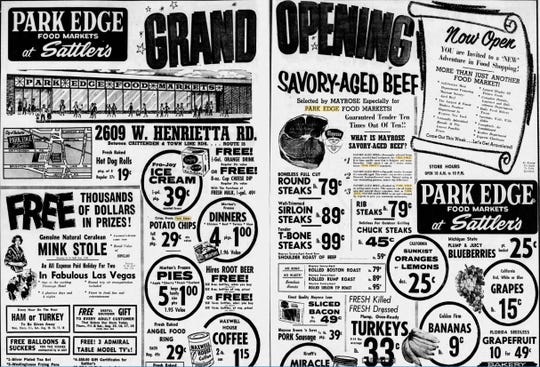1962: A grand opening ad for the new Park Edge Food Markets at Sattler's, 2609 W. Henrietta Road.