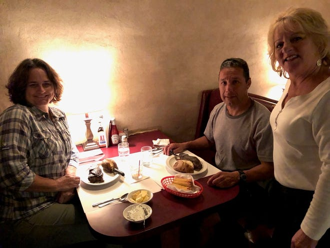 Donna and Anthony Egure at Jack's Grill with longtime server Linda Bloom.
