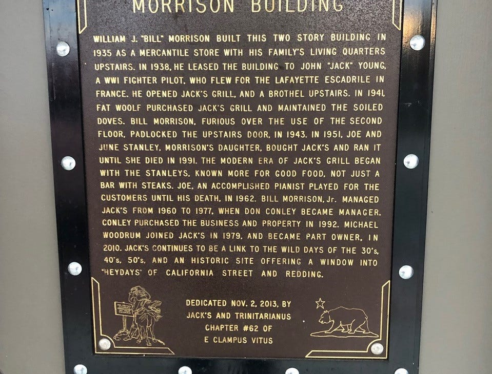 Historic plaque on the Morrison Building on California Street, home to Jack's Grill for the past 80 years.