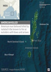 Map locates North Sentinel Island, India, where John Chau was believed killed by isolated tribe.