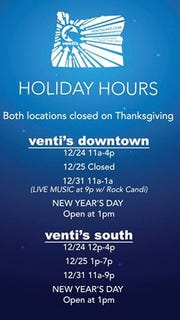 Venti's Holiday Hours