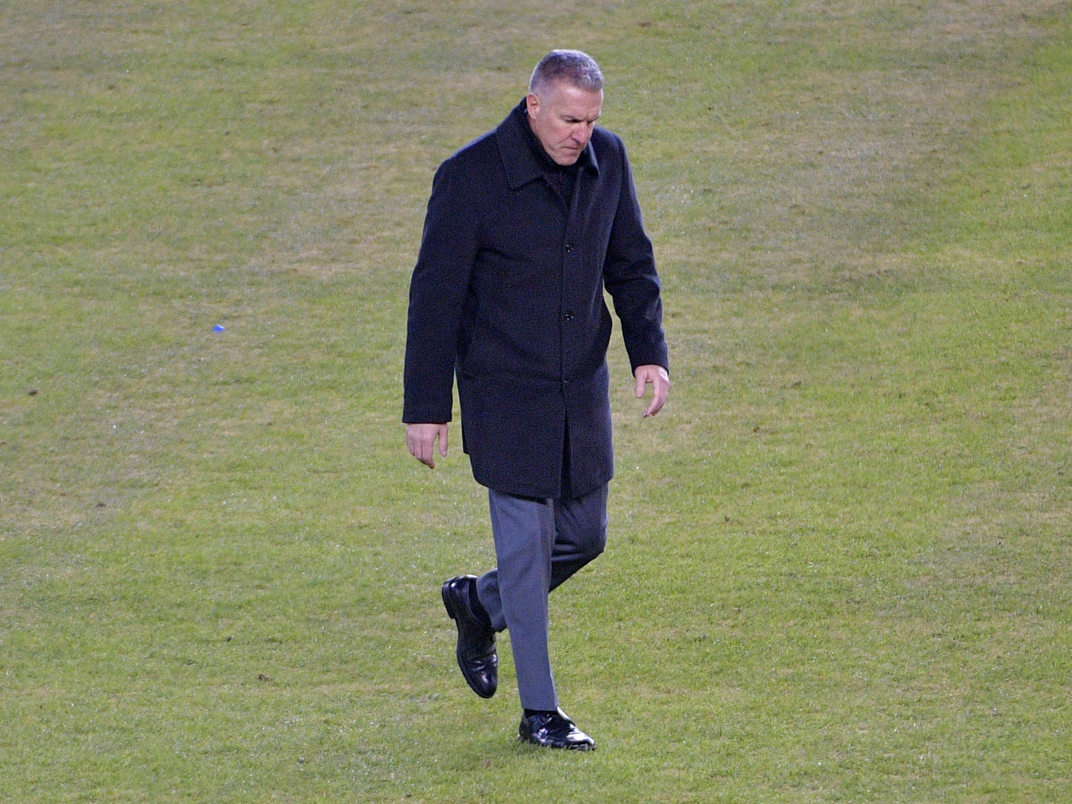 Nov 29, 2018; Kansas City, KS, USA; Sporting Kansas City head coach Peter Vermes walks out on the field to admonish fans to not throw objects on the field in a game against the Portland Timbers in the second leg of the MLS Western Conference Championship at Children's Mercy Park. Mandatory Credit: Denny Medley-USA TODAY Sports