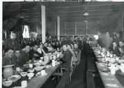 A Christmas Party at the Oregon State Fairgrounds, headquarters of the 104th Cavalry from early 1943 to early 1944. The unit provided tactical occupation of the Oregon Subsector of the Western Defense Command, protecting the Oregon against potential invasion.
