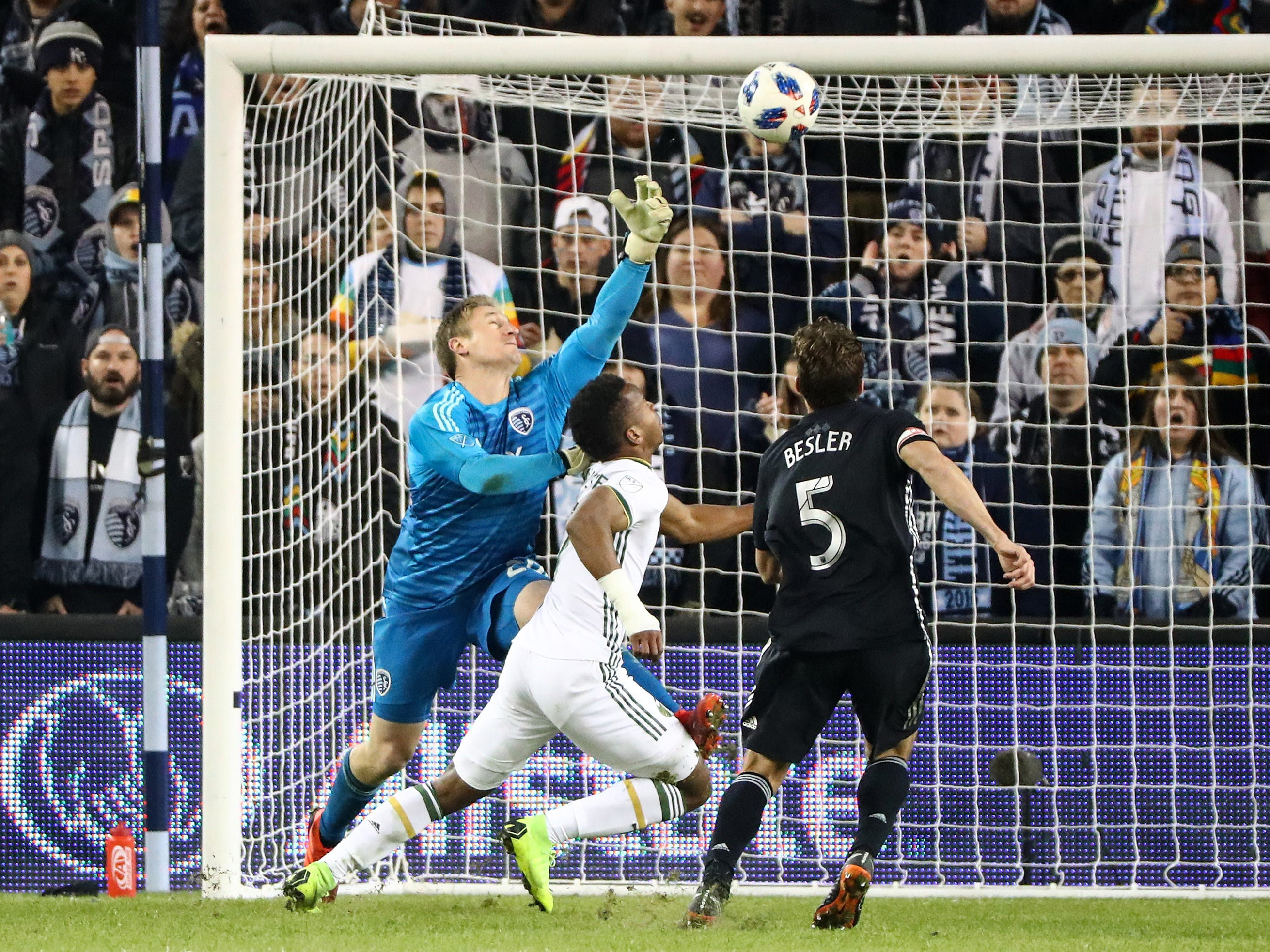 Nov 29, 2018; Kansas City, KS, USA; Sporting Kansas City goalkeeper Tim Melia (29) is unable to stop a pass from Portland Timbers forward Jeremy Ebobisse (17) during the second half in the second leg of the MLS Western Conference Championship at Children's Mercy Park. Mandatory Credit: Jay Biggerstaff-USA TODAY Sports