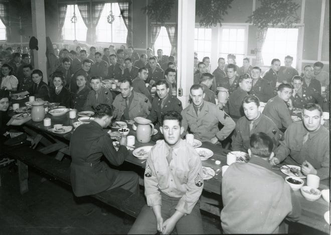 Christmas Party at the Oregon State Fairgrounds for the 104th Cavalry, December 25, 1943.