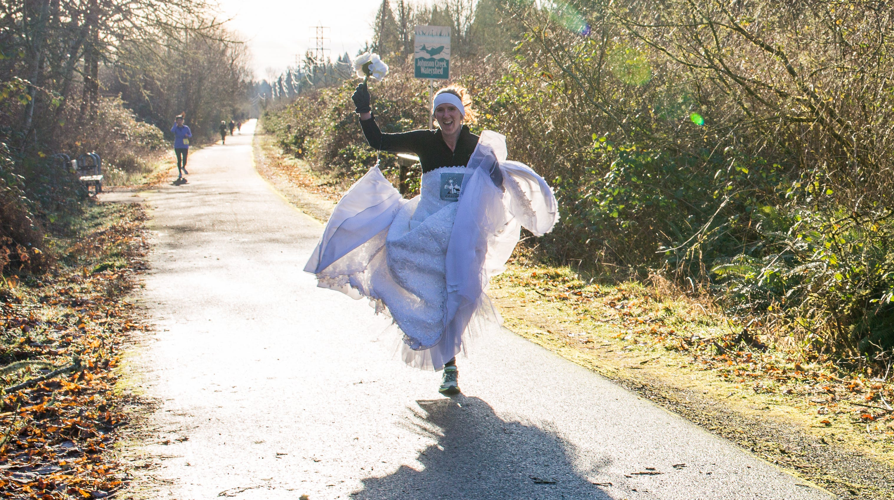 Angela Watts, 35, of Salem, ran the Resolution Relay in her wedding dress in Boring, Oregon, on Dec. 31, 2017. To encourage donations to her Dressember challenge, she promised to run the race in her dress if she reached her $3,000 fundraising goal.