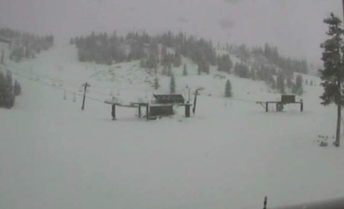 Snow at the base area of Hoodoo Bowl near Santiam Pass. The ski area is hoping for two more feet of snow to open.