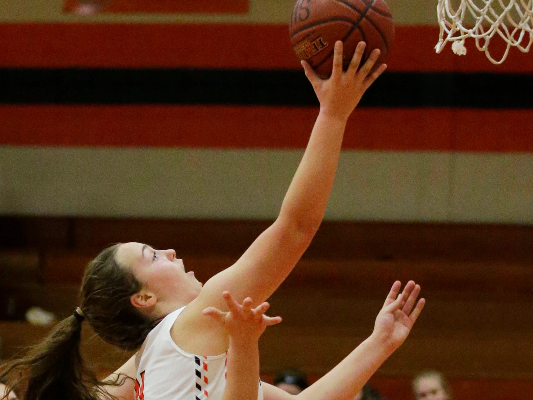 Plymouth's Addie Plate (11) aims for the basket against Campbellsport, Thursday, November 29, 2018, in Plymouth, Wis.