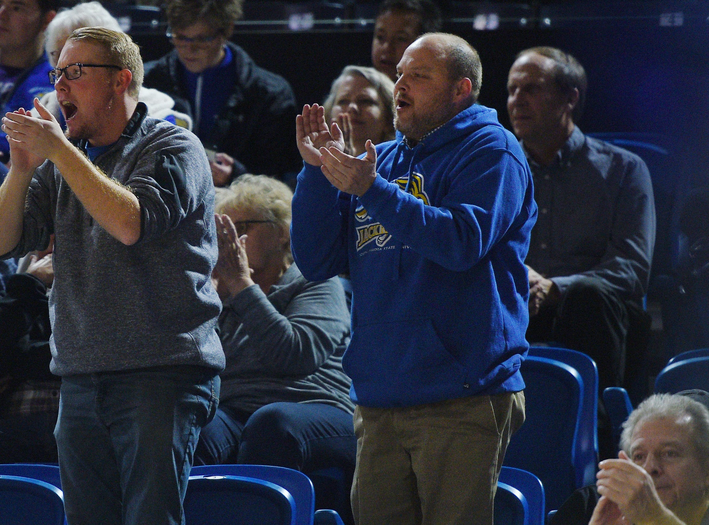 SDSU fans cheer during the game against Green Bay Thursday, Nov. 29, at Frost Arena in Brookings.