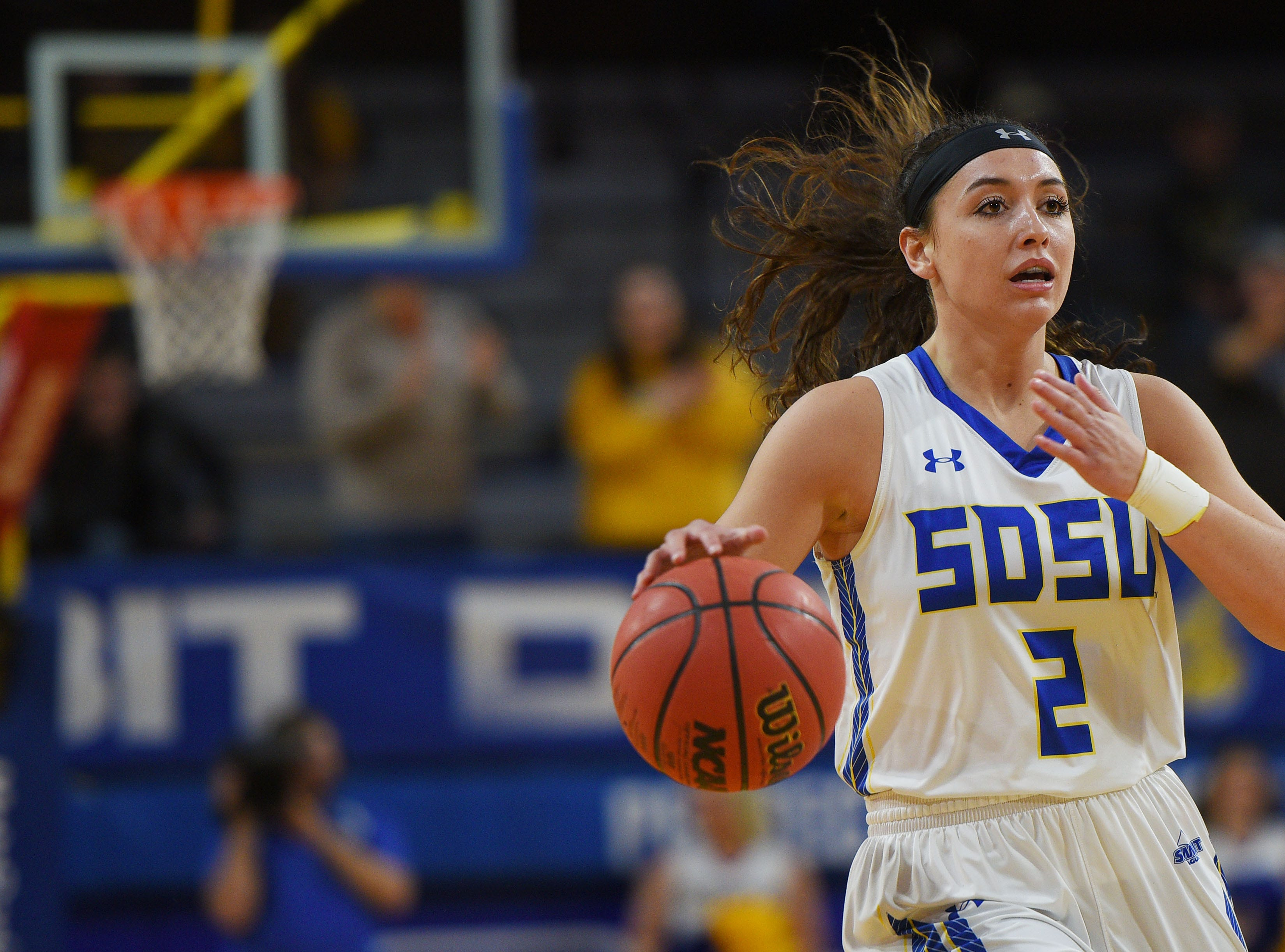 SDSU's Rylie Cascio Jensen goes against Green Bay during the game Thursday, Nov. 29, at Frost Arena in Brookings.