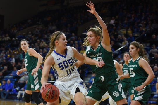 SDSU's Myah Selland goes against Green Bay's AnnaBrecht during the game Thursday, Nov. 29, at Frost Arena in Brookings.